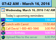 Upcoming reminders of Calendarscope